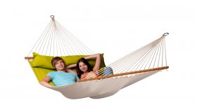 Green Padded Hammock with spreader bar