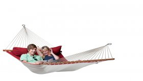 Red Padded Hammock with spreader bar
