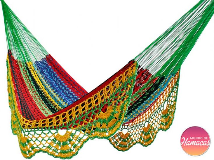 25745da30 Hammock Mexicana XXL fringe multi [XXL-FAMILIAR] : Un Mundo de ...